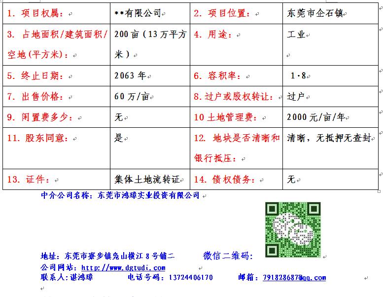 ope电竞官网企石镇清湖工业园200亩地皮